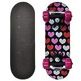 Rude Boyz 17 Inch Mini Wooden Cruiser Graphic Beginner Skateboard (Hearts Design)