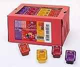 Schwartau Samt Sortimentskarton, 100 Portionsschalen à 25 g, je 25 x Samt Erdbeere, Himbeere, Waldfrucht und Aprikose
