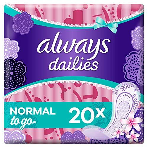 Always Dailies Slipeinlagen Damen To Go Normal (20 Einlagen) Mit Dezentem Duft, Flexibel & Bequem, Einzeln Verpackt, Für Ein Gefühl Von Frische