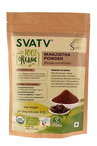 SVATV Manjishtha Pulver (Rubia Cordifolia) 1/2 LB, 08 oz, 227g USDA zertifiziert