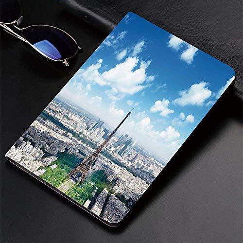 Coque pour iPad (24.638cm, modèle 2018/2017, 6ème / 5ème génération) Smart Cover ultra mince et légère, décor Paris, vue aérienne de la tour Eiffel Skyline Cloudy Day Famous French To, Smart Covers Au
