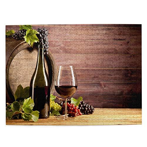 Rompecabezas de 500 piezas para adultos de 51,8 x 38,1 cm de madera Bodegón Vino de Madera Concepto Rústico Degustación Viticultura Puzzle para Niños Niñas Mayores Regalos