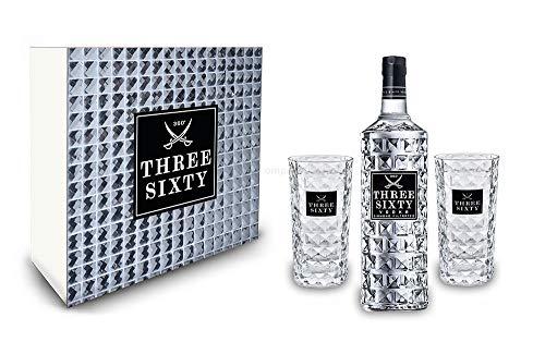 Three Sixty Set Geschenkset Geschenk Box - Three Sixty Vodka Wodka 0,7L 700ml (37,5% Vol) + 2x Gläser eckig Longdrink Glas 300ml Fassung Kristall Glas - [Enthält Sulfite]