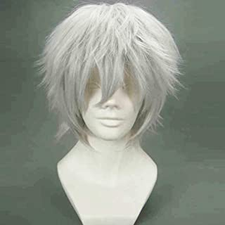 BERON Cool Men Short Straight Cosplay Costume Party Funny Wigs (Silvery Grey))