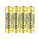 18650 BateríA Recargable 3.7V 9900 Mah Pilas Li-Ion BotóN De La BateríA Superior BateríAs De Gran Capacidad Respetuoso Con El Medio Ambiente Conveniente Para Linterna Led 4Pcs