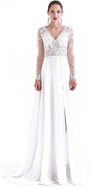 CG Chris Gelinas France CG Women's Lace Long Sleeve Bridesmaid Evening Dresses Wedding Side Slid Cocktail Party Dress J0041