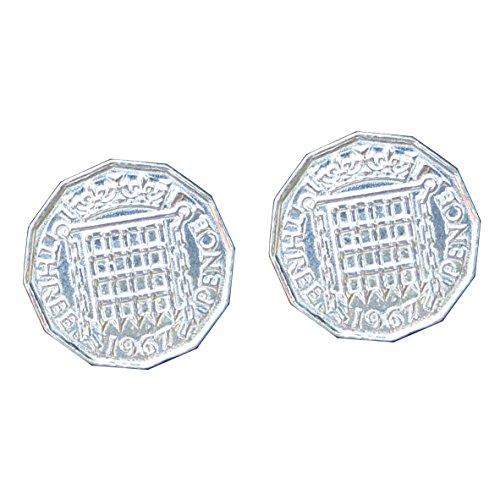 """Boutons de Manchette """"Pièce de Monnaie Three Pence"""" en Etain Fin - Fabrication Française"""
