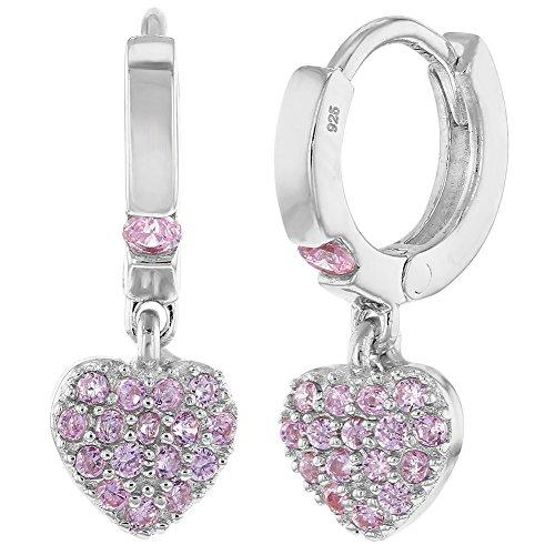 Orecchini in argento Sterling 925, con chiusura ad anello e ciondolo a forma di cuore, decorato con piccoli zirconi cubici, per bambine e ragazze, colore: rosa