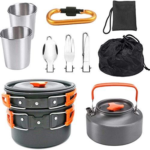 Cakunmik 9PCS Camping Kochgeschirr Set Outdoor Kochgeschirr mit Mini Gaskocher Tragbar Aluminium Besteck Camping Kochset für Outdoor Picknick Wandern 2-3 Personen,A