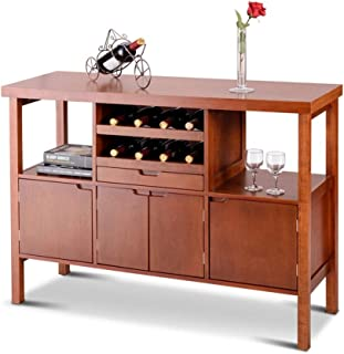 SHOPPER's CHOICE Wooden Cabinet Buffet Table Sideboard 8 Wine Bottle Storage Rack Closed Door Shelves Open Shelf Store Glass Dish Plates