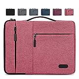 Lubardy Funda Portátil Compatible 13-14 Pulgadas Laptop Impermeable Maletín para Funda Ordenador Portátil Protectora Prueba Golpes Compatible Macbook Air/Pro, HP, DELL, Samsung, etc Rosa Roja