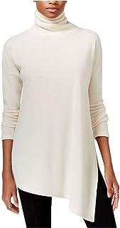 Rachel Roy Womens Knit Asymmetric Turtleneck Sweater Ivory XL