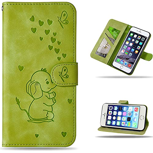 """LEINUO Custodia per Apple iPhone 6&iPhone 6S (4.7"""") PU Pelle Portafoglio Custodia Cover con Magnetica Flip Cover [Scomparti per Carte di Credito] [con Supporto] Goffratura Dell'elefante,Verde"""