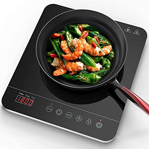 Aobosi induction Hob, Portable Induction Cooktop With 9 Power Levels and 10 Temperature Ranges With Black Crystal Glass Surface LCD Sensor Touch 3-Hour Timer 1800W Max