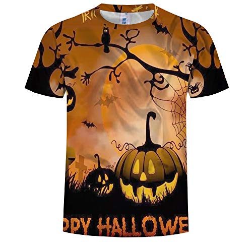 Unisex 3D Gedrukt Zomer Casual Korte Mouw T Shirts Tees Halloween Pumpkin 3D Print Crew Neck Korte Mouw T-Shirt Zomer Heren Coltrui Top