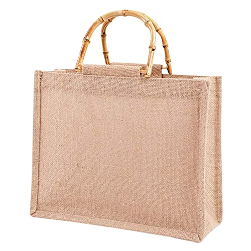 LMIX Bolsa portátil de yute natural con asas de bambú, bolsa de la compra de yute, bolsa de tela gruesa vintage de lino ecológico para la compra Size: M