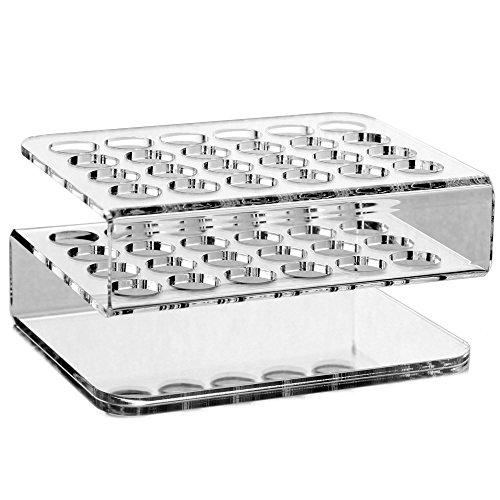 Tuuters.de 24-Loch Reagenzglashalter aus Acryl   Glasklar ✓ Deko ✓ Diverse Größen (24-Loch S-Rack - Ø 16.5mm)