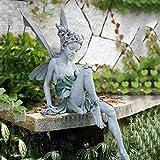 DHYED Gartenfiguren füR AußEn,Blumenfee Skulptur Garten,Landschaftsbau Harz Sitzen Statue Handwerk,Gartendekoration Im Innenhof Der Villa Im Freien