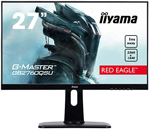 iiyama G-MASTER Red Eagle GB2760QSU-B1 68,58 cm (27') Gaming Monitor WQHD 144Hz (DVI, HDMI, DisplayPort, USB 3.0, 1ms Reaktionszeit, FreeSync, Höhenverstellung, Pivot) schwarz