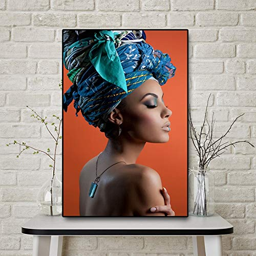 Atxbfg Blaue Turbanfrauen DIY Ölfarbe Digitale Ölfarbe Digitale Zeichnung Leinwand mit Pinsel 40x50cm