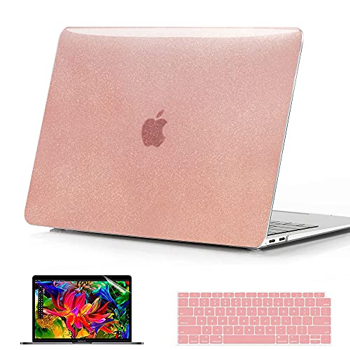 B BELK Compatible with MacBook Air 13 inch Case 2021 2020 2019 2018 Release Model: M1 A2237 A2179 A1932,Glitter Hard Shell Case + Keyboard Cover + Screen Protector, MacBook Air M1 Case, Rose Quartz