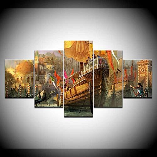 DGGDVP Hd Gedruckt Malerei 5 Panel Holzboot Meer Landschaft Moderne Wohnzimmer Wandkunst Bilder Dekoration Poster Größe 2 Kein Rahmen