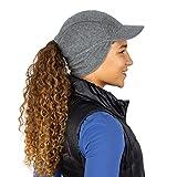 TrailHeads Fleece Ponytail Hat with Drop Down Ear Warmer | The Trailblazer Adventure Hat for Women (Heather Grey)