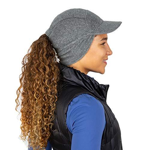 TrailHeads Sombrero de cola de caballo de lana con calentador de oreja desplegable | El sombrero de aventura Trailblazer para mujer - gris - Talla única