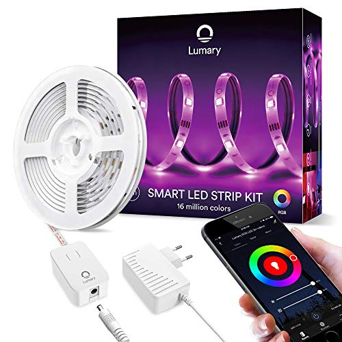 Smart LED Streifen 3M Alexa, Lumary Wi-Fi LED Strip Lichtband,Heller 5050 RGB Musik LED Leiste Band Kompatibel mit Echo,Google Home, Dimmbar 16 Millionen Farben Lichterkette für Haus,Küche,TV,Party