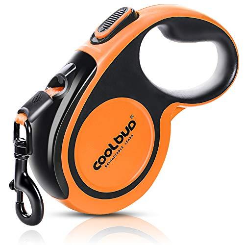 G.C Hundeleine Große Hunde bis zu 50kgs 5m Einziehbar Hundeleine mit leuchtenden reflektierenden Nylonband, verstellbar Hund Leine, 360 ° verwirrungsfreie Einhandbremse, Pause, Verriegelung (Orange)