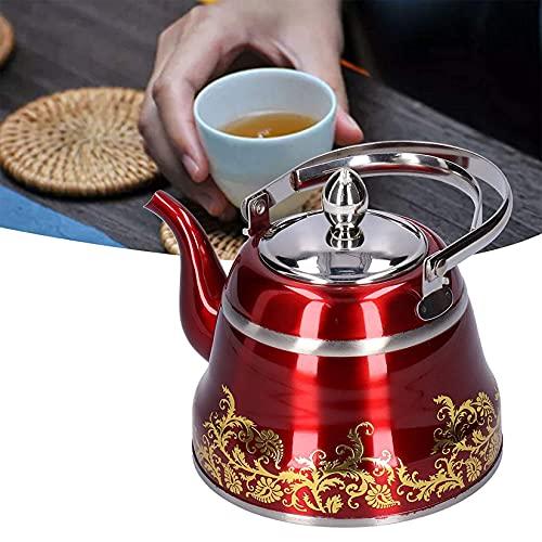 Tetera de 1L/1.5L/2L Pava Inox con Hervidor de Agua de Calidad Alimentariacon Mango Resistente Al Calor Mango de Tetera Adecuado para Cocina Inducción de Agua Café,Rojo,1.5L