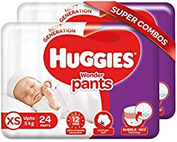 Huggies Wonder Pants Extra Small / New Born (XS / NB) Size Diaper Pants Combo Pack of 2, 24 count, with Bubble Bed...