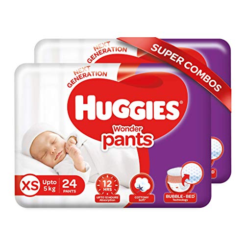 Huggies Wonder Pants Extra Small / New Born (XS / NB) Size Diaper Pants Combo Pack of 2, 24 Count, With Bubble Bed Technology For Comfort