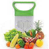 AMOYER Zwiebel-Halter Gemüse Helfer Kartoffelschneider Slicer Gadget Edelstahl-Gabel-Slicing Küche-Werkzeug-Gerät Schneiden zufällige Farbe