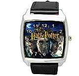 TAPORT® Harry Potter Reloj cuadrado de cuarzo negro correa de cuero E2 + batería de repuesto + bolsa de regalo gratis