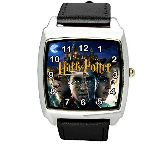 TAPORT® Harry Potter Reloj cuadrado de cuarzo negro correa de cuero E2 + batería de repuesto +...