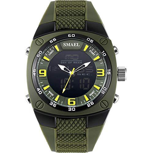 QZPM Relojes Deportivos Digital para Hombre, Multifuncional Retroiluminación Alarma Resistente Al Agua Grande De La Cara Militar Relojes Electrónicos,Army Green