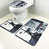 ChezMax Black and White Eiffel Tower Pattern 3 Piece Bathroom Non-Slip Toilet Rug Set Bath Mat Contour Rug Toilet Lid Cover