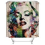 Duschvorhang 180X180 Marilyn Monroe Duschvorhang Anti-Schimmel & Wasserabweisend Shower Curtain, Duschvorhänge mit 12 Haken,Duschvorhang Textil Waschbar,Polyester
