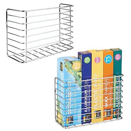 mDesign Farmhouse Metal Wire Wall Cabinet Door Mount Kitchen Storage Organizer Basket Rack - Mount to Walls and Cabinet Doors in Kitchen Pantry and Under Sink - 2 Pack - Chrome