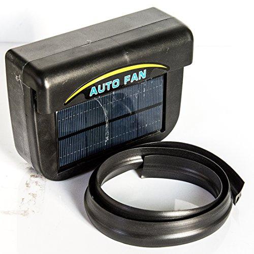 Luwu-Store Solar Power Auto Fenster Lüfter Auto Ventilator Belüftung Radiator Vent mit Gummi Stripping Schwarz