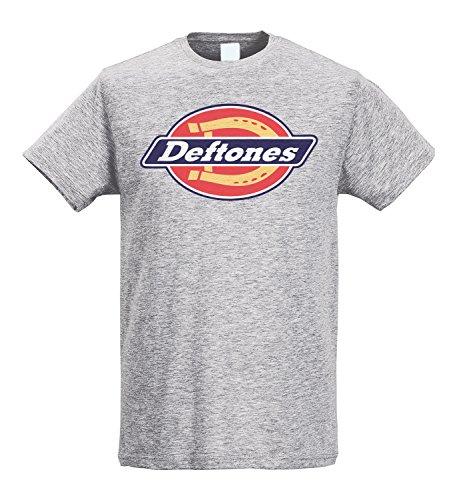 LaMAGLIERIA Herren-T-Shirt Slim Deftones Street Logo - T-Shirt Rock nu Metal 100% Baumwolle Ring Spun, M, Grau