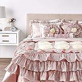 Tache Home Fashion 1612 Floral Ruffled Champagne Satin Victorian Comforter Bedding Set, Cal King, Cinnamon Chai