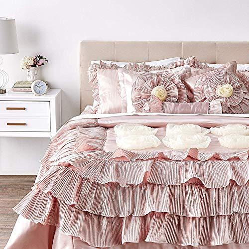 Tache Home Fashion 6 Piece Solid Floral Comforter Quilt Set
