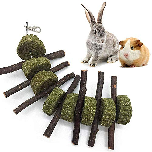 Ewolee Bunny Chew Toys, Pet Treats Toy with Apple Wood Sticks Grass Cakes, Teeth Grinding Toy for Rabbits Guinea Pigs Chinchilla Hamster Parrots