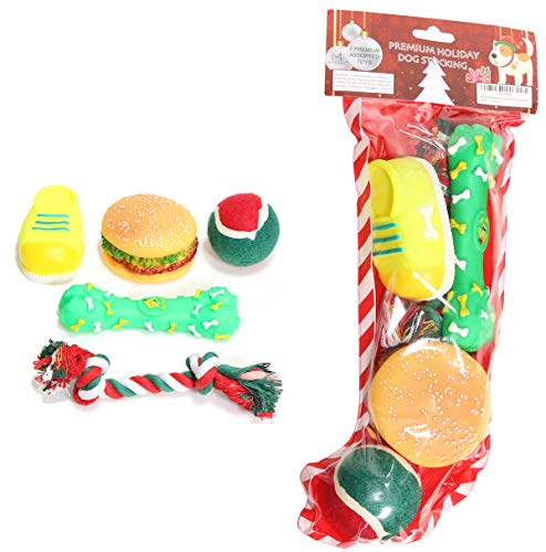 MOMONI Premium 5 Piece Dog Christmas Stocking Set with Dog Toys Assorted Squeaky Toys of Dog Boot Toy and Bone, Knotted Rope Toy, Dog Squeaky Ball Fun Christmas Stockings for Dogs