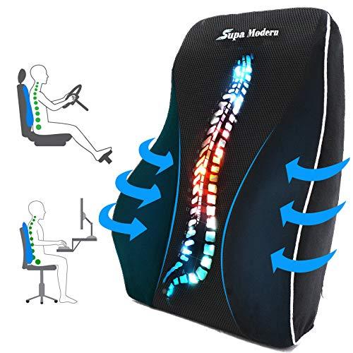 Almohada de apoyo lumbar para silla de oficina, cojín de espuma viscoelástica para aliviar el dolor de espalda baja, almohadas de respaldo de asiento de coche con masaje respirable apoyo lumbar