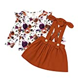 Infant Toddler Baby Girl Fall Outfit Long Sleeve Floral T-Shirt Strap Skirt Sets Autumn Suspender Dress Flower Clothing Sets (Flower-A, 18-24 Months)