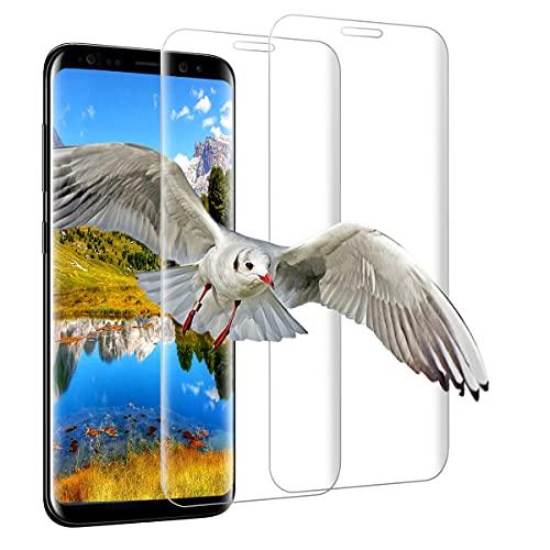 Shalwinn HD-Klar Panzerfolie Schutzfolie für Samsung Galaxy S8, 2 Stück Panzerglas,3D Volle Bedeckung Displayschutzfolie [Anti-Kratzer][Blasenfrei][Anti-Staub][Hüllenfreundlich] Panzerglasfolie
