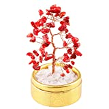SUNYIK Red Coral Money Tree Bonsai Tumbled Stone Lucky Fengshui Healing Decoration 4 Inch